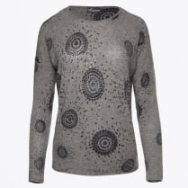 - Art Deco Embellished Cashmere Sweater - Charcoal