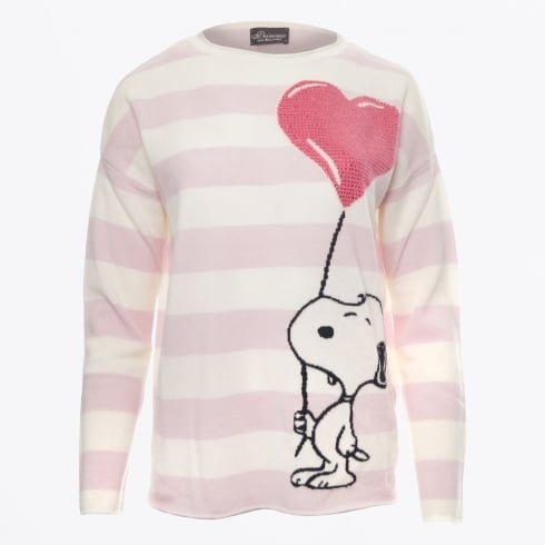 Princess Goes Hollywood - Snoopy Diamante Balloon Striped Cashmere Sweater