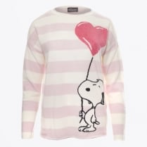 - Snoopy Diamante Balloon Striped Cashmere Sweater