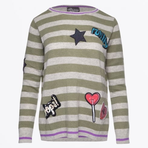 Princess Goes Hollywood - Stripe Knit With Patches - Spanish Olive