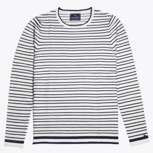 - Bar Stripe Crew Knit - White/Navy