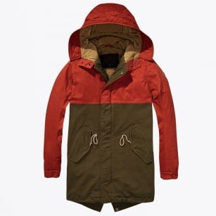 - Long Hooded Parka - Green/Red