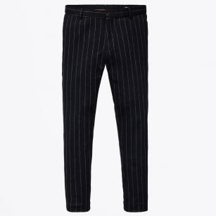 - Stripe Knitted Wool Pants - Navy