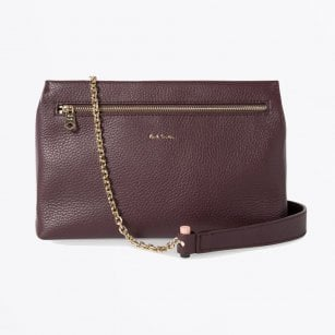 - Leather Pouch with Gold Chain - Burgundy
