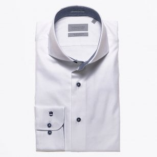 - Navy Trim Cut Away Shirt - White