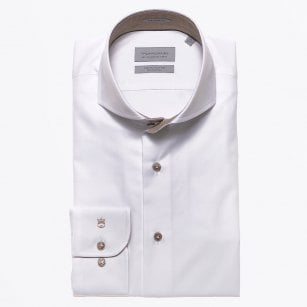 - Beige Trim Cut Away Shirt - White