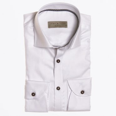 - Cotton Denim Trim Shirt - White