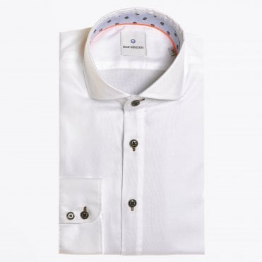 - Cotton Printed Insert Shirt - White