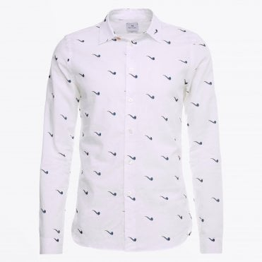 - Slim-fit Printed Pipe Shirt - White