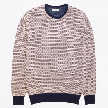 - Textured Crew Neck Knit - Grey/Navy