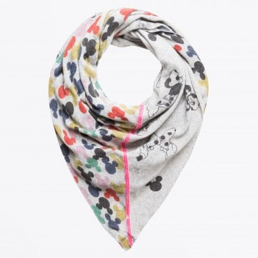 - Disney Mickey Mouse Scarf - Light Grey