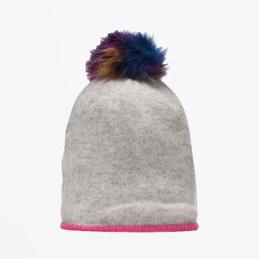- Wool Hat with Pompom - Grey