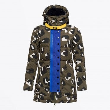 - Animal Print Puffer Coat - Khaki
