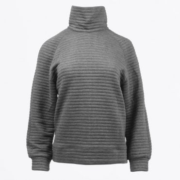 - Ribbed Roll Neck Sweatshirt - Grey