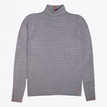 - Textured High Neck Knit - Grey