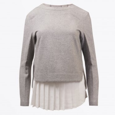 - Pleated Chiffon Top - Grey