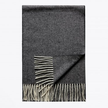- Herringbone Wool Scarf - Grey