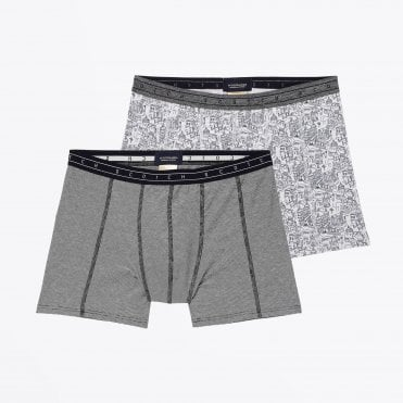 - Two-Pack Printed Boxer Briefs - Grey