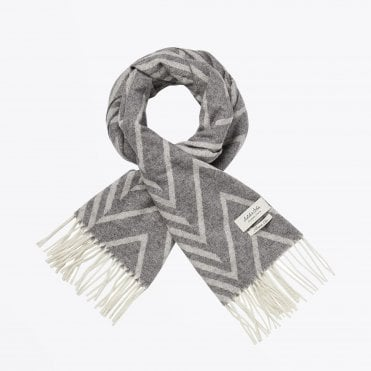 - Geometric Wool Scarf - Grey
