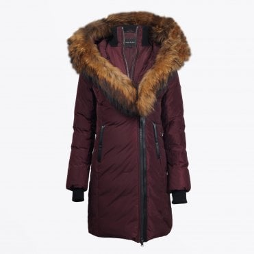 - Kay Mid-length Winter Down Coat With Fur Collar - Bordeaux