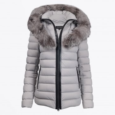 - Kadalina Short Down Coat With Fur Collar - Light Grey