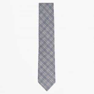 | Checked Cotton Linen Mix Woven Tie - Navy