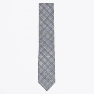 | Checked Cotton Linen Mix Woven Tie - Navy