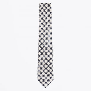 | Cotton Print Tie - Navy
