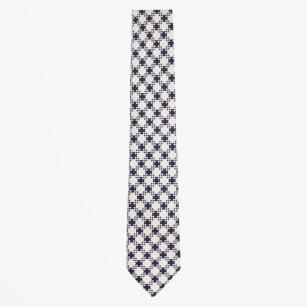 | Cotton Print Tie - Navy