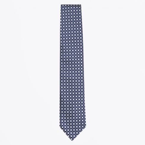 Profuomo - Dot Print Silk Woven Tie - Royal Blue