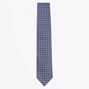 | Dot Print Silk Woven Tie - Royal Blue