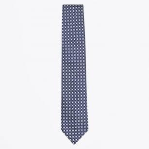 | Dot Print Silk Woven Tie - Royal Blue