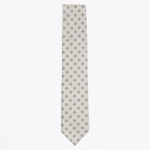| Floral Cotton Linen Mix Woven Tie - Ecru