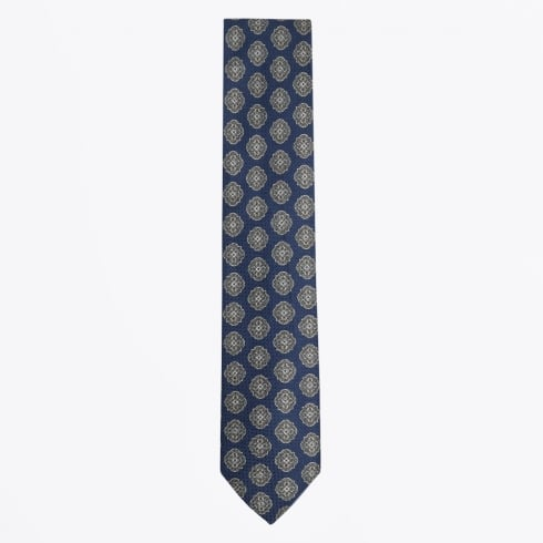 Profuomo - Floral Cotton Viscose Mix Tie - Navy