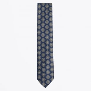 | Floral Cotton Viscose Mix Tie - Navy