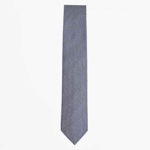 Profuomo - Silk Woven Check Pattern Tie - Navy