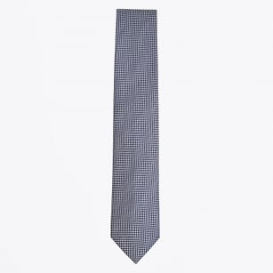 | Silk Woven Check Pattern Tie - Navy