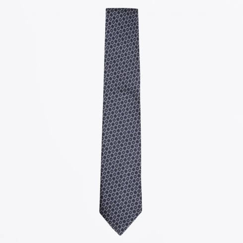 Profuomo - Silk Woven Circle Pattern Tie - Navy