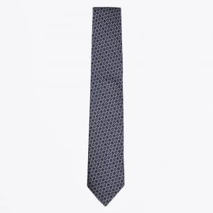 | Silk Woven Circle Pattern Tie - Navy