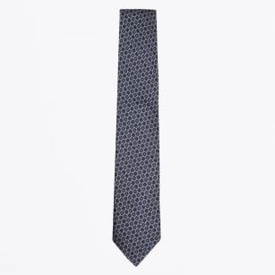 | Silk Woven Circle Pattern Tie - Navy