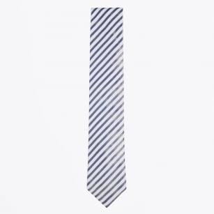 | Silk Woven Diagonal Stripe Tie - Navy