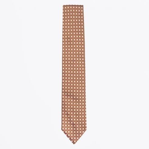 Profuomo - Silk Woven Geometric Tie - Orange