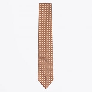 | Silk Woven Geometric Tie - Orange