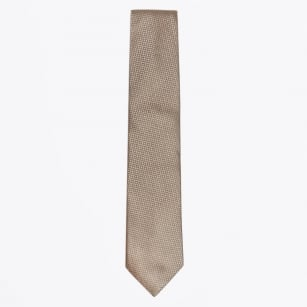 | Silk Woven Patterned Tie - Camel