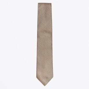 | Silk Woven Patterned Tie - Camel