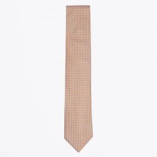 | Silk Woven Patterned Tie - Orange