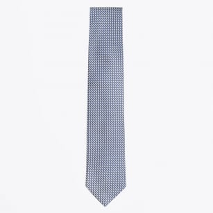 | Silk Woven Patterned Tie - Royal Blue