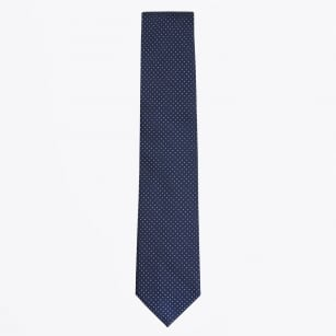 | Silk Woven Pin Dot Tie - Navy