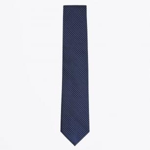 | Silk Woven Pin Dot Tie - Navy