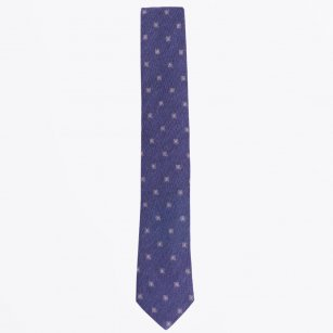 | The Navy Cotton Mix Woven Tie